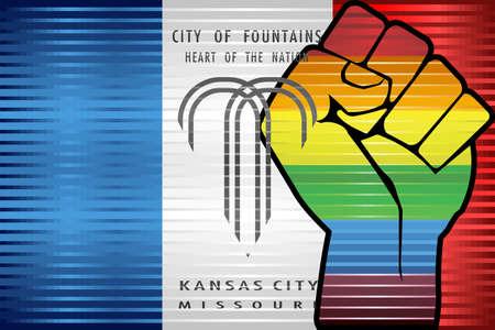 Shiny LGBT Protest Fist on a Kansas City - Illustration,  Abstract grunge Kansas City and LGBT flag 向量圖像