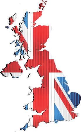 Shiny Grunge map of the United Kingdom - Illustration,  Three Dimensional Map of United Kingdom
