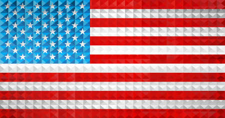Geometric flag of the USA - Illustration, Three dimensional flag of USA