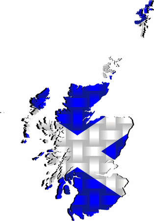 Scotland Map - Illustration,  Three dimensional Map of Scotland