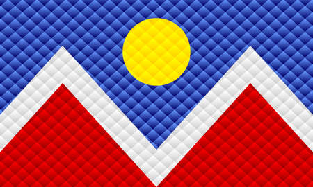Mosaic flag of the Denver - Illustration,  Three dimensional flag of Denver 矢量图像