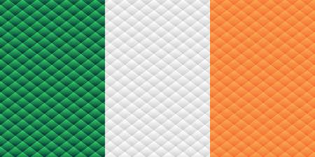 Mosaic flag of the Ireland - Illustration,  Three dimensional flag of Ireland 矢量图像