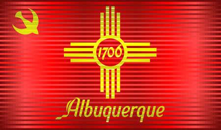 Shiny Grunge flag of the Albuquerque - Illustration,  Three Dimensional Map of Albuquerque