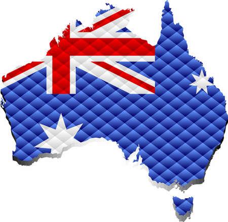 Mosaic Map of the Australia - Illustration,  Three Dimensional Map of Australia 矢量图像