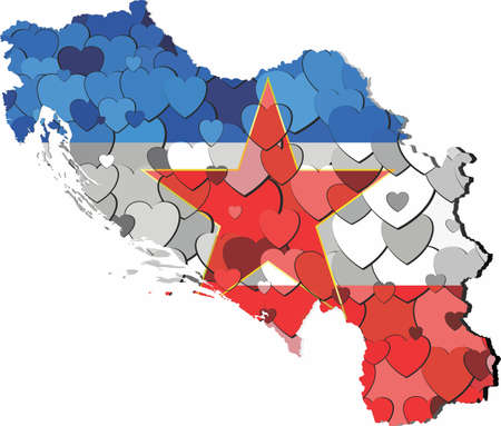 Yugoslavia map made of hearts background - Illustration,  Abstract Yugoslavia map 矢量图像