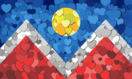 Denver flag made of hearts background - Illustration,  Abstract mosaic flag of Denver