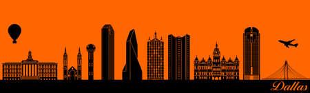 Vector city skyline silhouette - illustration,  Town in orange background,  Dallas Texas 矢量图像