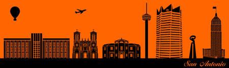 Vector city skyline silhouette - illustration,  Town in orange background,  San Antonio Texas