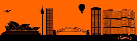 Vector city skyline silhouette - illustration,  Town in orange background,  Sydney Australia
