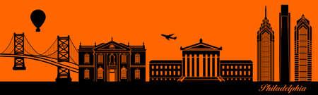 Vector city skyline silhouette - illustration,  Town in orange background,  Philadelphia Pennsylvania