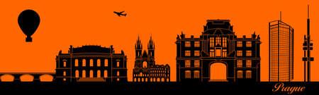 Vector city skyline silhouette - illustration,  Town in orange background,  Prague Czech Republic 矢量图像