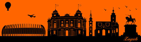 Vector city skyline silhouette - illustration,  Town in orange background,  Zagreb Croatia 矢量图像