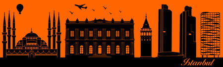 Vector city skyline silhouette - illustration,  Town in orange background,  Istanbul Turkey 矢量图像