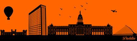 Vector city skyline silhouette - illustration, Town in orange background, Dublin Ireland