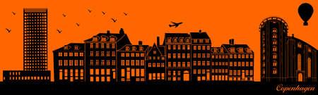 Vector city skyline silhouette - illustration,  Town in orange background,  Copenhagen Denmark