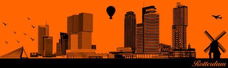 Vector city skyline silhouette - illustration,  Town in orange background,  Rotterdam Netherlands