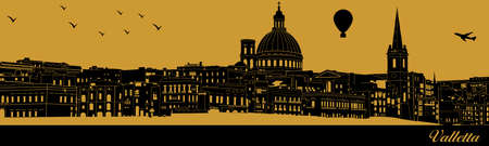 Vector city skyline silhouette - illustration,  Town in gold background,  Valletta Malta 矢量图像