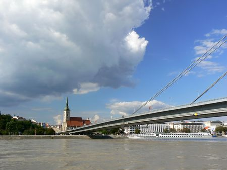 Sky and flooded Danube Stock Photo