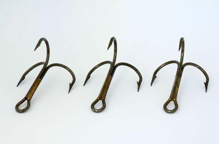 Three triple-hooks isolated photo