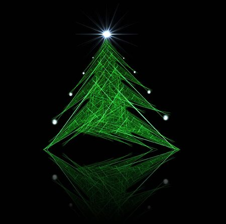 Fractal abstract - christmas tree (with star and decorations) photo