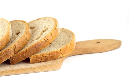 sustenance: Slices of bread on board