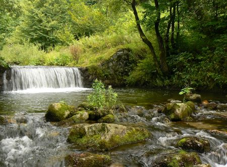 Mountain river stream. Waterfall. Stock Photo - 651583
