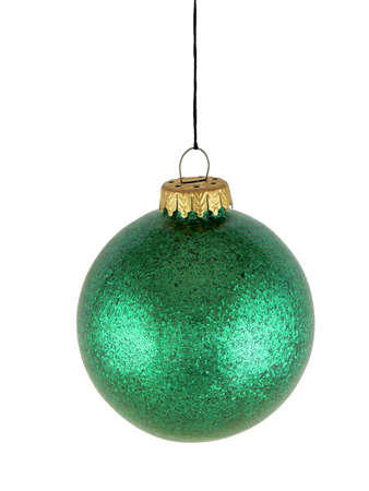 Green christmas glass ball on white background (with clipping path for easy background removing) photo
