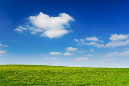 scenic background: Blue cloudy sky, green grass (background, wallpaper)