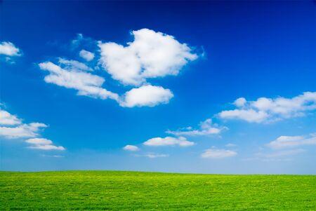 Blue cloudy sky, green grass (background, wallpaper) photo