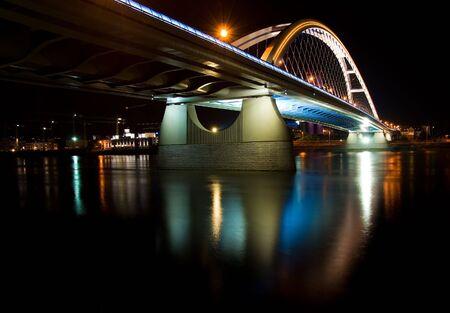 bratislava: Apollo bridge in Bratislava in Slovakia in the night