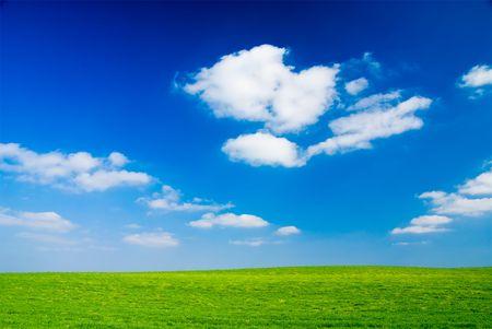 Blue cloudy sky, green grass (background, wallpaper)