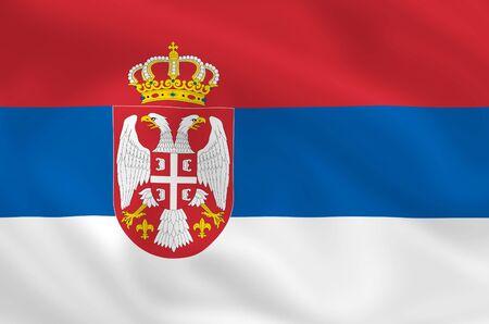 serbian: Serbian satsilk waving flag (country from europe) Stock Photo