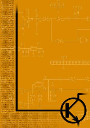 transistor: Transistor NPN sobre fondo naranja (ilustraci�n)