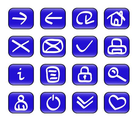Set of miscellaneous blue web icons ( illustration) illustration