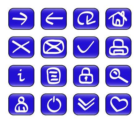 Set of miscellaneous blue web icons ( illustration) illustration
