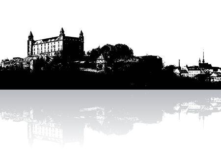 Castillo silueta con gradiente de reflexión (ilustración)  Foto de archivo - 3436779