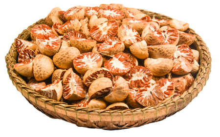 areca: Betel nut or areca nut in a basket