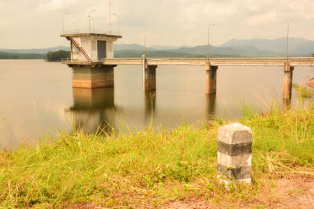 Building in the big reservoir songkhla thailand Stock Photo