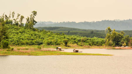 catchment: Floating house on the big reservoir songkhla thailand