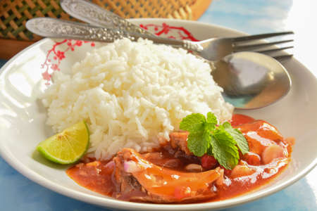 tomato catsup: Canned fish and jasmine ricethai style