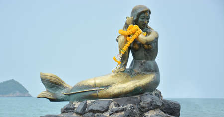 dominant woman: Mermaid in a songkhla beach,thailand