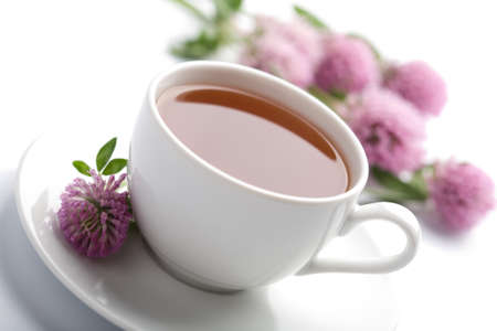 white cup of herbal tea and clover flowers isolated Stock Photo - 4501361