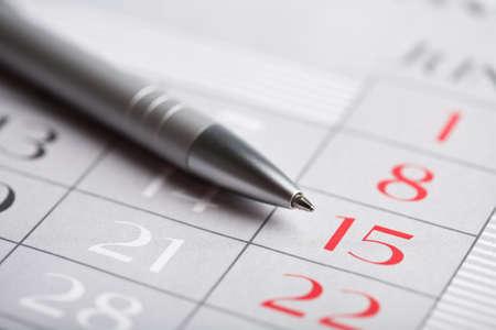 school agenda: close-up de la página de calendario Foto de archivo