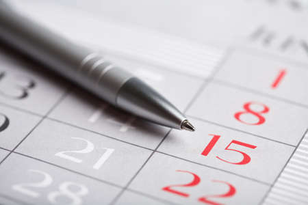 close-up of calendar page Stock Photo