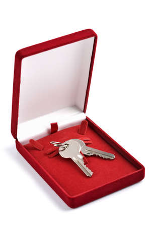 keys in red gift box isolated photo