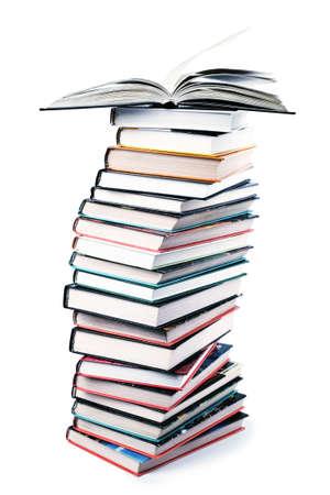 encyclopedias: big pile of books isolated