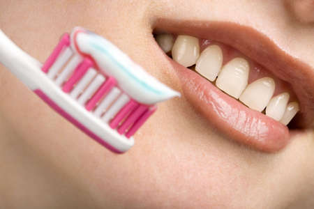 white smile and toothbrush. dental care Stock Photo