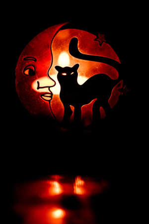 glowint silhouette of black cat. halloween background photo