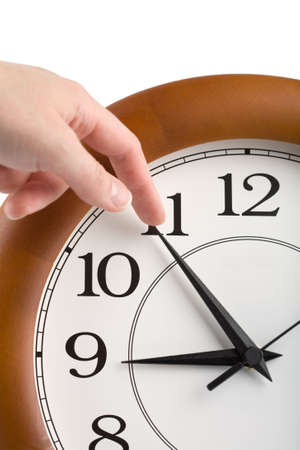 stop time: hand trying to stop time isolated