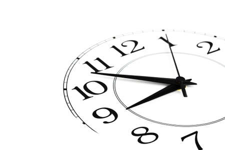 time pressure: white clock showing time about nine isolated Stock Photo